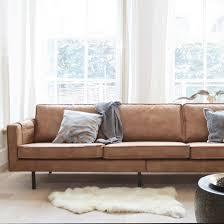 canapé polyester canapé contemporain en cuir et polyester rodeo cognac decoclico