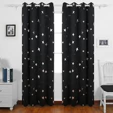 Blackout Curtain Liner Eyelet by Deconovo Stars Foil Printed Thermal Insulated Ready Made Curtains
