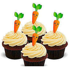 Carrot Cake Edible Cupcake Toppers Stand up Wafer Cake Decorations Pack of 24