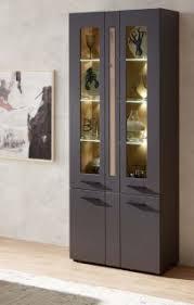loft two vitrine vitrinenschrank wohnzimmerschrank inkl led beleuchtung graphit artisan eiche