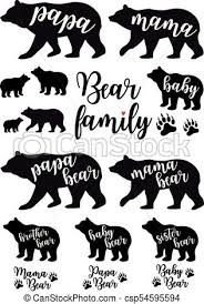 Mama Bear Papa Baby Vector Set