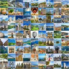 Download Travel Collage Many Photos Of Places Around The World Stock Image