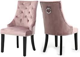 warmiehomy 2er set samt esszimmerstühle geknöpfte küchenstühle mit nieten und klingelbeinen aus chrom und walnussholz esszimmermöbel rosa