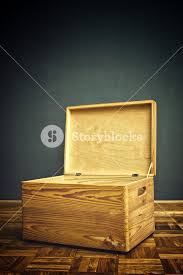 Open Wooden Crate Box On The Floor Of Apartment