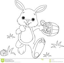 SMLF Bunny Hiding Eggs Coloring Page Stock Photos Easter Pages Pdf