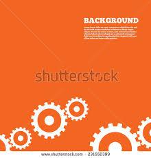Modern Design Background Cog Settings Sign Icon Cogwheel Gear Mechanism Symbol Orange Poster