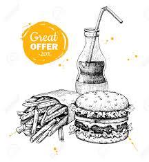Vector vintage fast food special offer Hand drawn monochrome junk food illustration Soda