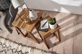 wohnling 2er set mumbai beistelltisch massivholz sheesham design wohnzimmer tisch eckig nachttisch s
