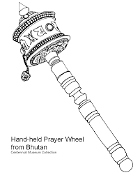 Coloring Page Bhutanese Hand Held Prayer Wheel Drawing