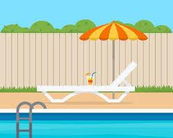 Lounge With Umbrella Near The Pool Big House Villa Flat Style