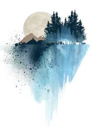 Blue Mountain Wall Art Print Watercolor Poster Nature Modern Home Decor Apartment Gift