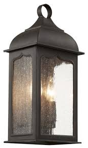 2 light clear seeded glass wall lantern rubbed bronze