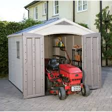 factor large resin outdoor storage shed 8x11 taupe beige keter