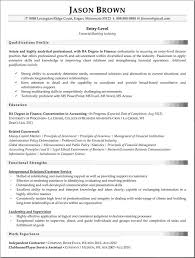 Finance Personnel Resume Example