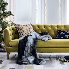 West Elm Overarching Floor Lamp by Lola 76 U0026quot Tufted Sofa Plush Velvet Wasabi Tufted Sofa
