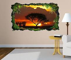 3d wandtattoo afrika savanne elefanten safari baum selbstklebend wandbild wohnzimmer wand aufkleber 11l1638 3dwandtattoo24 de