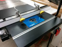 Sawstop Cabinet Saw Used by Table Saw Enhancement Converting Extension Table Into Router