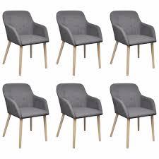 vidaxl esszimmerstühle 6 stk hellgrau stoff und massivholz eiche
