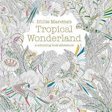 Tropical Wonderland Secret Garden Colouring Book For Adult Kids Creative Therapy Doodling Drawing Books Thread Binding Gold Plated Cover Coloring In