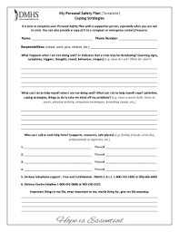 Fillable Online My Personal Safety Plan Template Coping Strategies