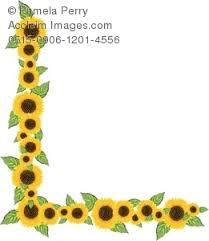 Clip Art Illustration of a Sunflower Corner Border