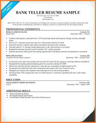 Resume Template For Bank Teller Sample No Experience