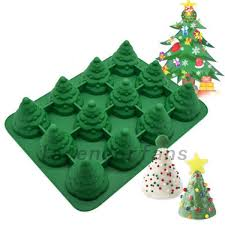 12 Grids 3D Silicone Christmas Tree Cake Mould Cookie Chocolate DIY Baking Mold