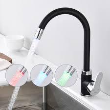led küchen wasserhahn schwarz armatur 360 schwenkbare küchenarmatur hochdruck mit temperaturanzeige mischbatterie für küche