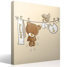 stickers fil a linge ours sur la corde à linge neutre avec nom
