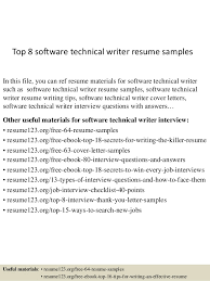 Top 8 Software Technical Writer Resume Samples In This File You Can Ref Materials