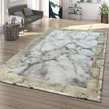teppiche wohnzimmer teppich kurzflor mit marmor design und