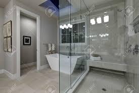 erstaunlich grau master bad mit großen glas begehbare dusche freistehende badewanne und dachfenster an der decke northwest usa