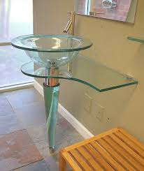18 Inch Width Pedestal Sink by 31 5 In Wide All Glass Contemporary Modern Bathroom Glass Vessel