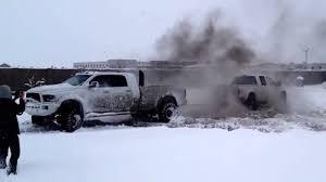 100 Trucks In Snow FORD VS DODGE TUG OF WAR