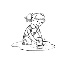 Vector Sketch Girl Play In Sandbox Little Child Active Walk