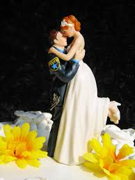 Beautiful Wedding Cake Figurines Topper With Police Uniform Groom And White Wedding Dress Bride Also Beautiful Yellow Wedding Cake Ornaments Flowers