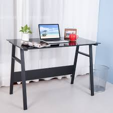 Black Writing Desk Uk by Life Carver Home Office Desk Compact Black Glass Computer