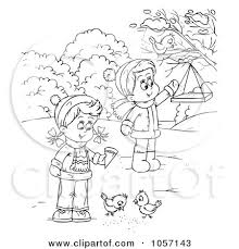 Coloring Page Outline Of Children Feeding Birds By Alex Bannykh