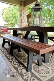 Outdoor Dining Table With Benches On Room Regard To DIY Bench For 12