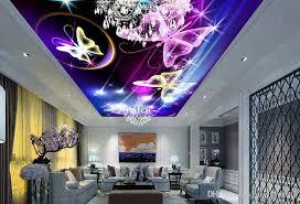 großhandel 3d decke tapeten für wohnzimmer benutzerdefinierte 3d decke helle meteor schmetterling nonwovens tapete für himmel decke yeyueman8888