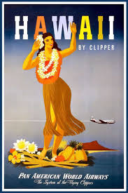 Vintage Airline Poster Advertising Hawaii By Clipper Pan Am 1948