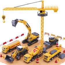 100 Construction Trucks IPlay ILearn Site Vehicles Toy Set Kids Engineering Playset Tractor Digger Crane Dump Excavator Cement Steamroller For 3