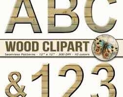 Digital Wood Alphabet Clipart Printable Rustic Letters And Numbers Punctuation Alpahabet