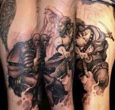 Angel Fighting Demon Tattoo By Scott Trerrotola