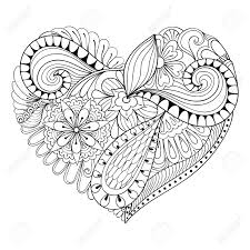 Adults Valentines Day Hearts Coloring Pages Artistic Floral Doodle Heart In Zentangle Style For Adult