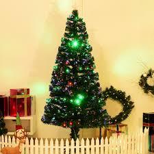 6ft Fiber Optic Christmas Tree Uk by Homcom 6ft Pre Lit Led Optical Fiber Christmas Tree Artificial