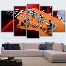 HD Printed Modular Canvas Paintings For Living Room Wall Art 5 Pieces Bass Guitar Neck Pictures