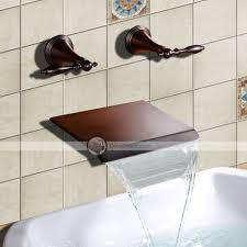 Wall Mounted Led Waterfall Faucet by Yufaik Oil Rubbed Bronze Waterfall Widespread Wall Mount Bathtub