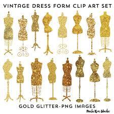 Vintage Dress Form Clip Art Fashion Party Theme Invitation Clipart Gold Glitter Instant Download
