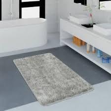 details zu moderner badezimmer teppich einfarbig microfaser kuschelig gemütlich in grau